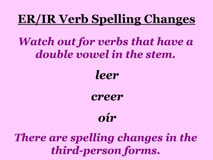 ER/IR Verb Spelling Changes