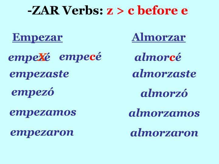 -ZAR Verbs: