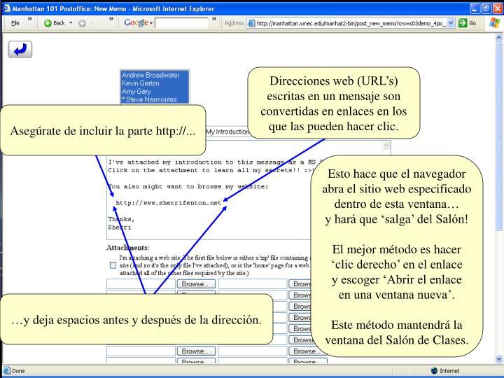 Direcciones web (URL's)