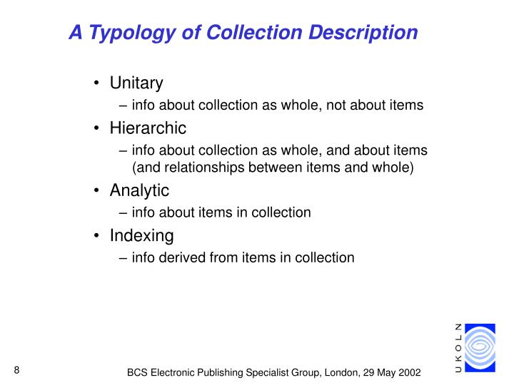 A Typology of Collection Description