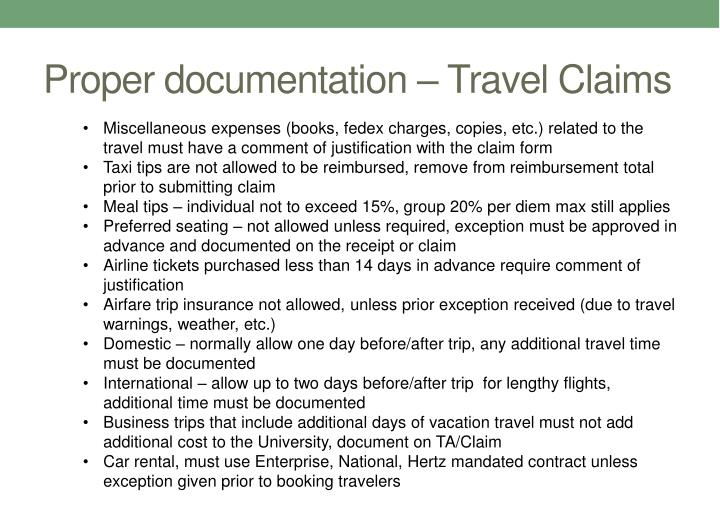 Proper documentation – Travel Claims
