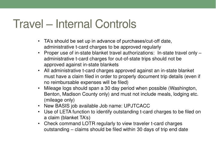 Travel – Internal Controls