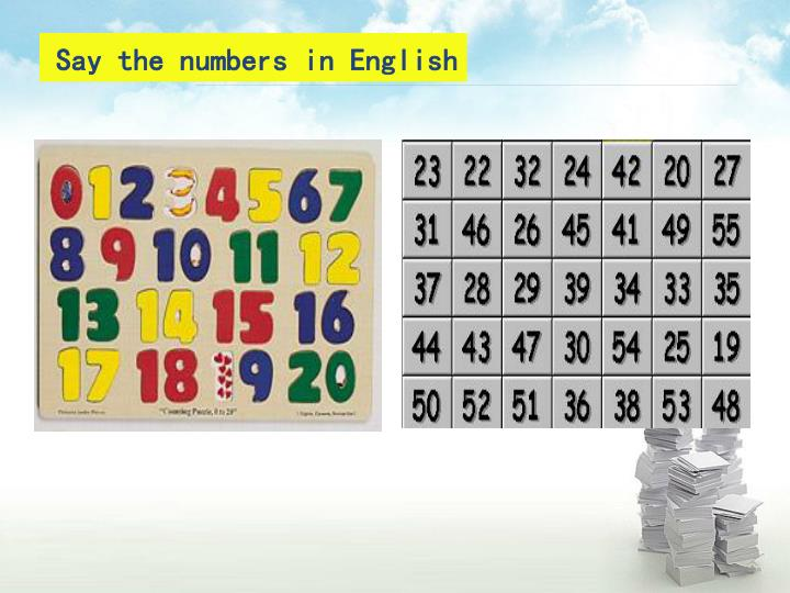 Say the numbers in english