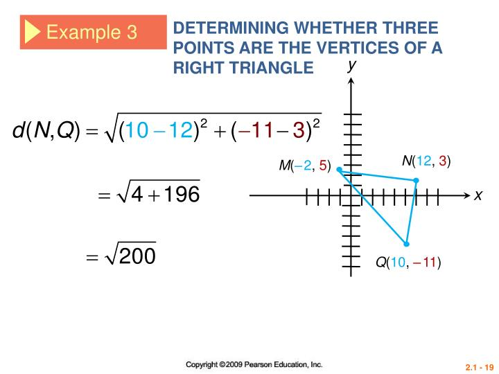 DETERMINING WHETHER THREE POINTS ARE THE VERTICES OF A RIGHT TRIANGLE