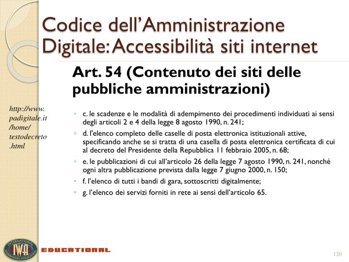 Codice dell'Amministrazione Digitale: Accessibilità siti internet