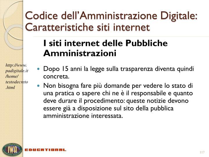 Codice dell'Amministrazione Digitale: Caratteristiche siti internet