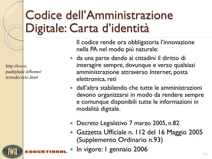 Codice dell'Amministrazione Digitale: Carta d'identità