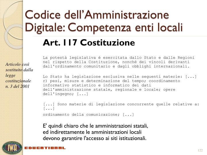 Codice dell'Amministrazione Digitale: Competenza enti locali