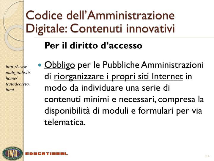 Codice dell'Amministrazione Digitale: Contenuti innovativi
