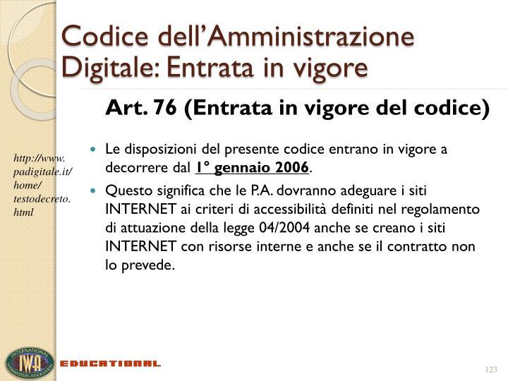 Codice dell'Amministrazione Digitale: Entrata in vigore