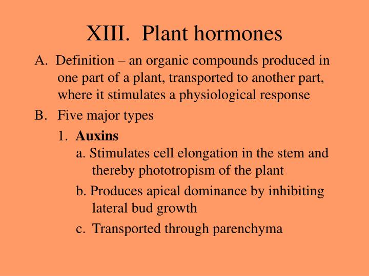 XIII.  Plant hormones