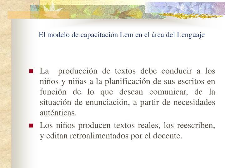 El modelo de capacitación Lem en el área del Lenguaje
