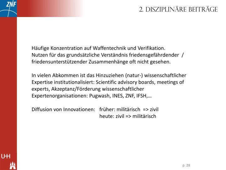 2. Disziplinäre Beiträge