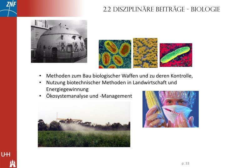 2.2 Disziplinäre Beiträge - Biologie