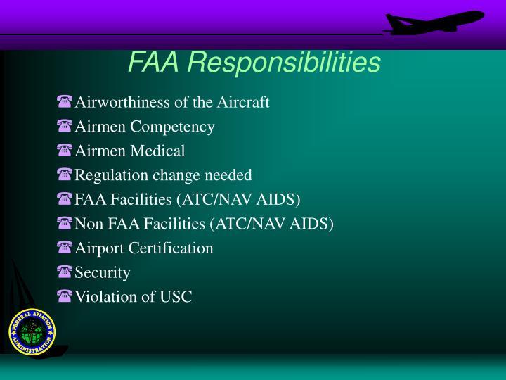 FAA Responsibilities