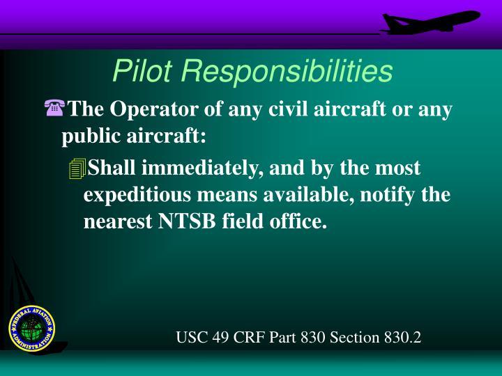 Pilot Responsibilities