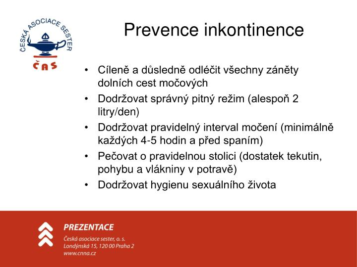 Prevence inkontinence