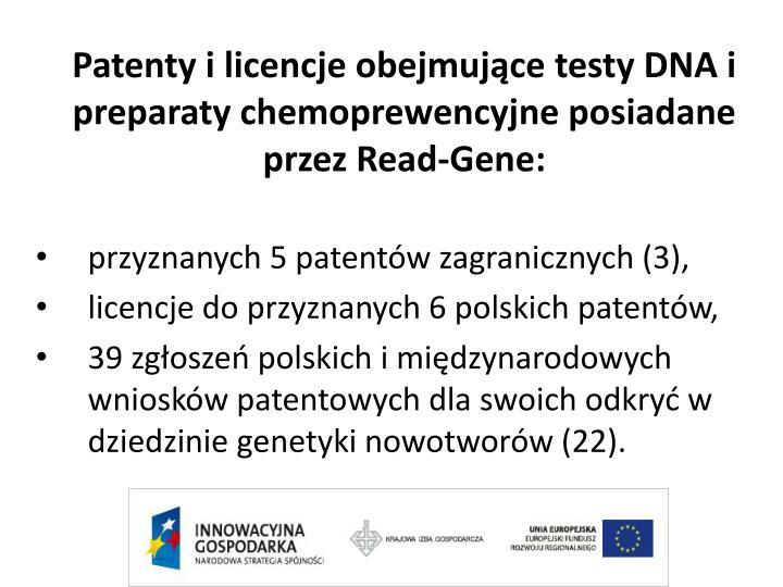 Patenty i licencje obejmujące testy DNA i preparaty chemoprewencyjne posiadane przez Read-Gene: