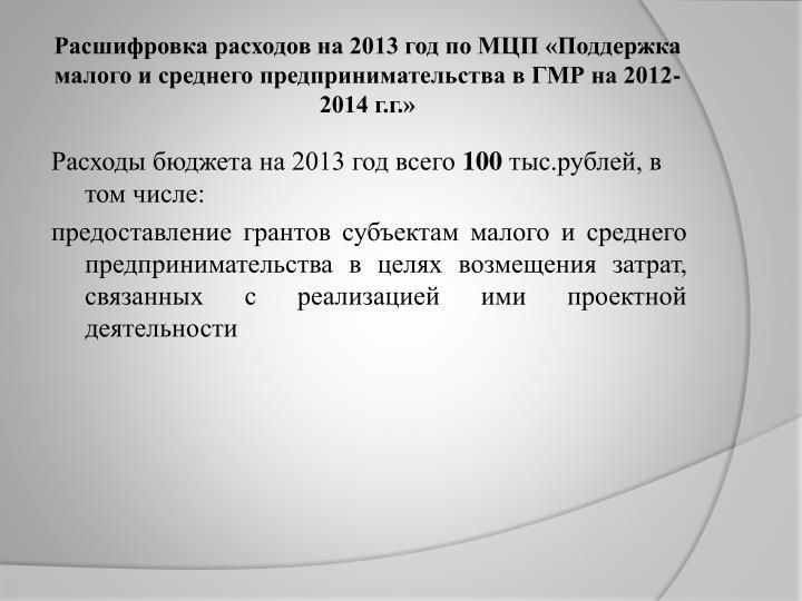 Расшифровка расходов на 2013 год по МЦП «Поддержка малого и среднего предпринимательства в ГМР на 2012-2014 г.г.»