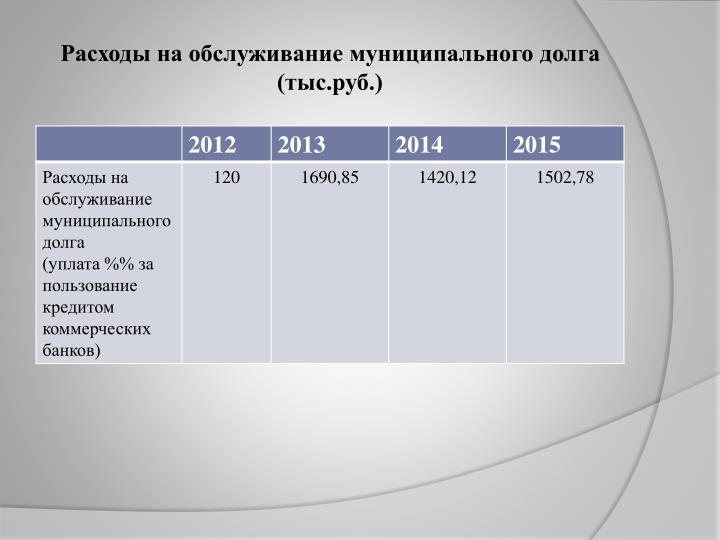 Расходы на обслуживание муниципального долга (тыс.руб.)