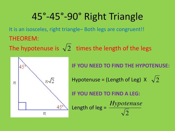 45°-45°-90° Right Triangle