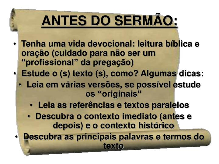 ANTES DO SERMÃO: