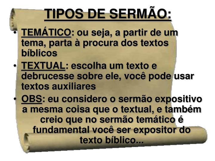 TIPOS DE SERMÃO: