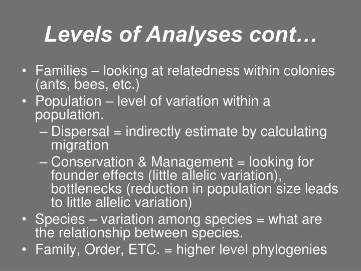 Levels of Analyses cont…
