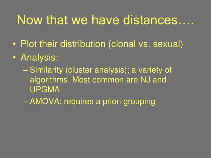 Now that we have distances….
