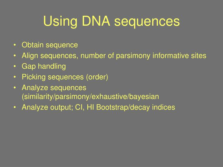 Using DNA sequences