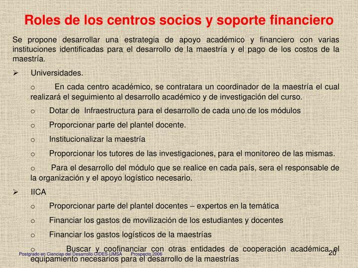 Roles de los centros socios y soporte financiero