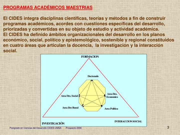PROGRAMAS ACADÉMICOS MAESTRIAS