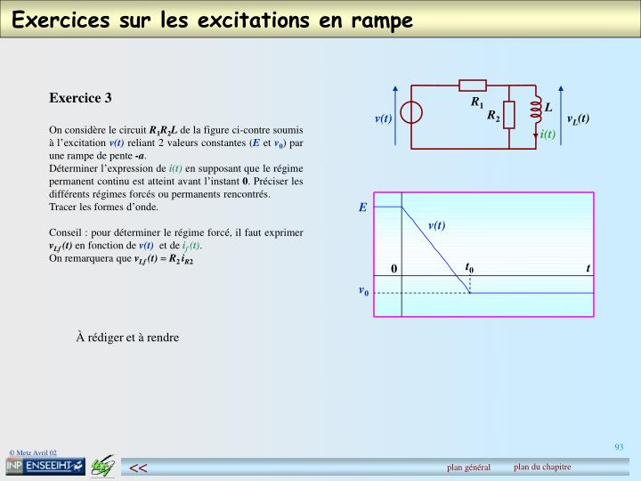 Exercices sur les excitations en rampe