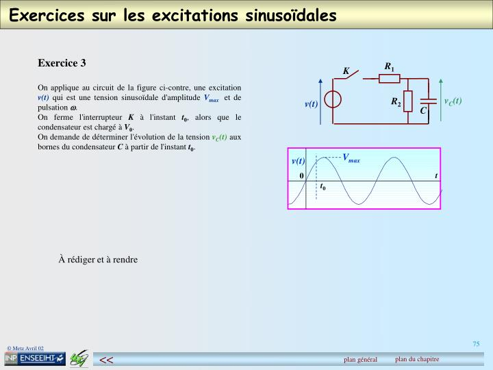 Exercices sur les excitations sinusoïdales