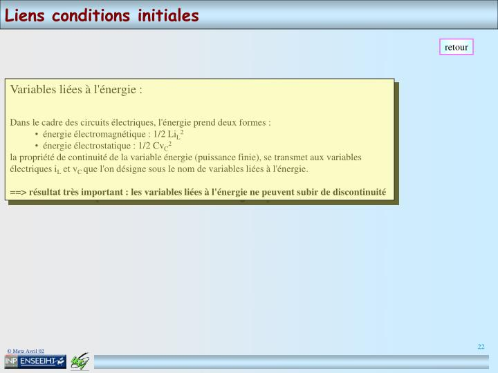Liens conditions initiales