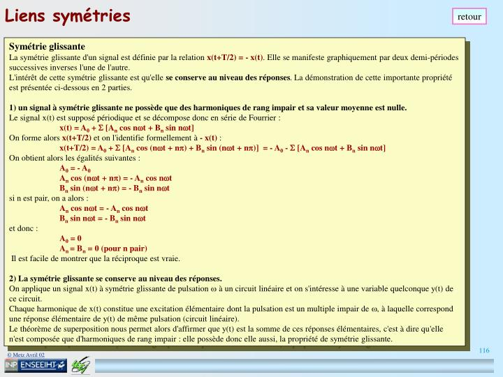 Liens symétries