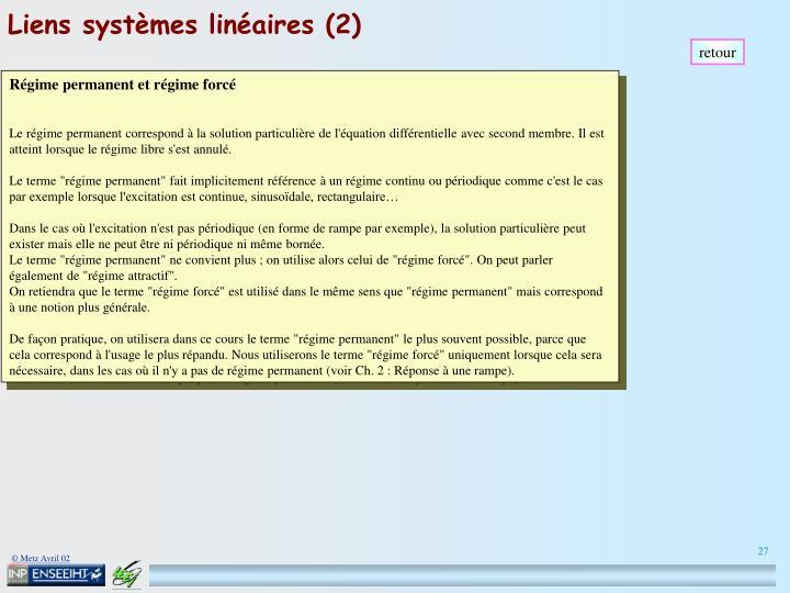 Liens systèmes linéaires (2)