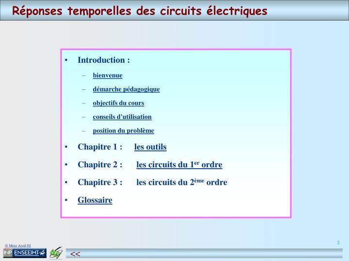 Réponses temporelles des circuits électriques