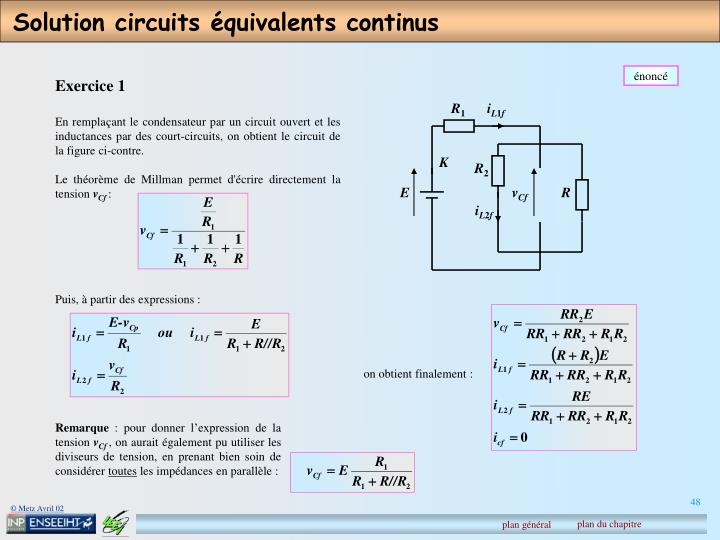 Solution circuits équivalents continus