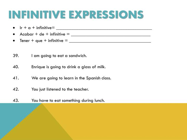 Infinitive expressions