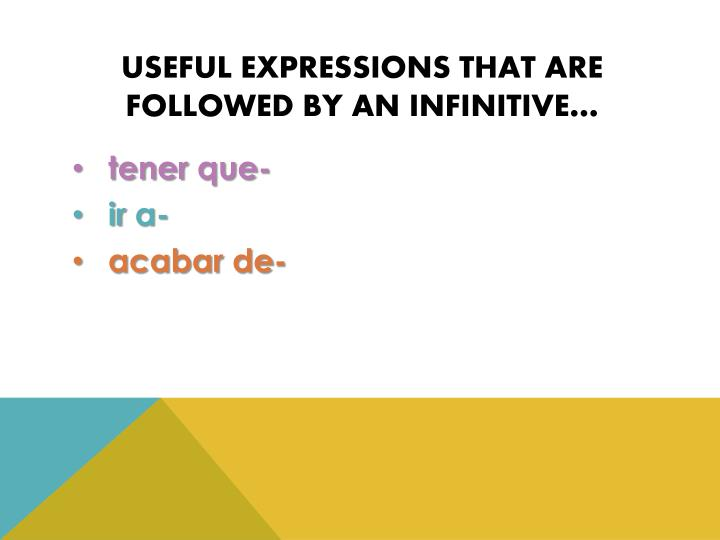 Useful expressions that are followed by an infinitive…