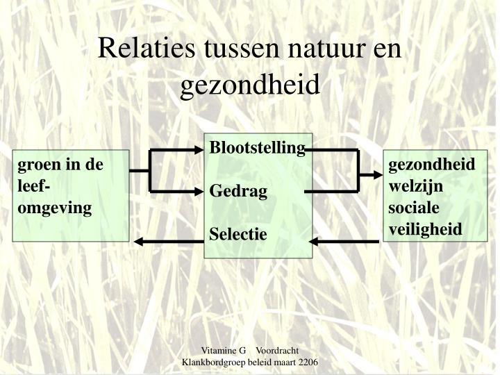 Relaties tussen natuur en gezondheid