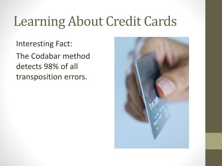 Learning About Credit Cards