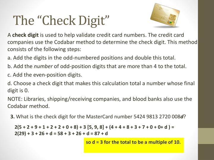 "The ""Check Digit"""