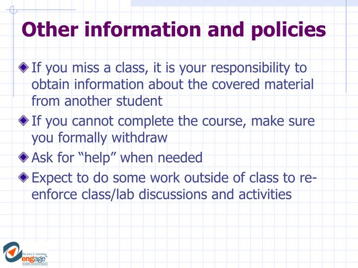 Other information and policies