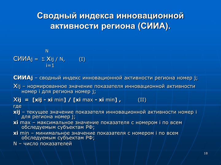 Сводный индекса инновационной активности региона (СИИА).