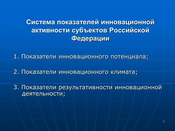 Система показателей инновационной активности субъектов Российской Федерации