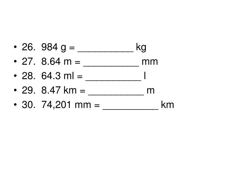 26. 984 g = __________ kg