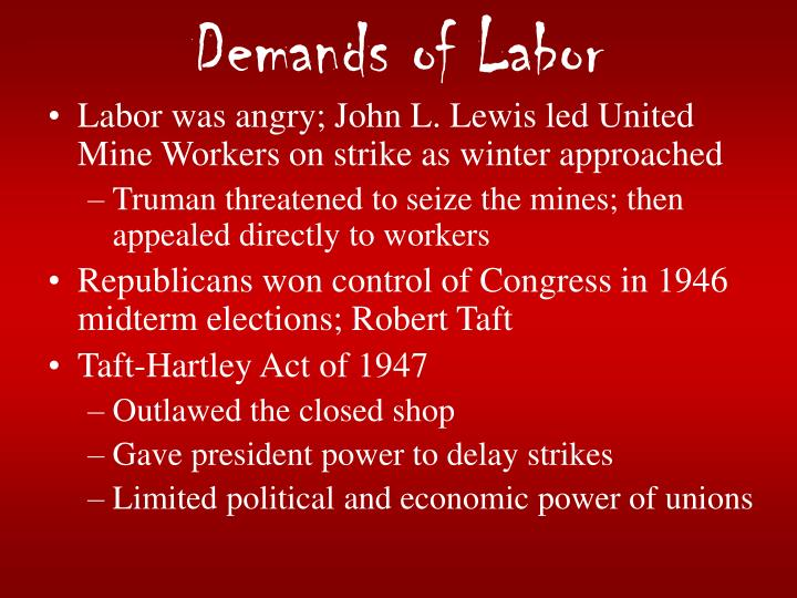Demands of Labor