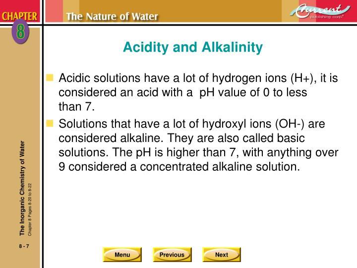 Acidity and Alkalinity